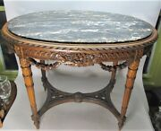 Superb 19th C. Italian Profusely Carved Marble Top Table C. 1890 Antique
