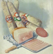 Advertisement Sign Picture Heart Sausage Painting About 1900
