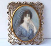 Miniature Portrait Young Woman Hand Painted Signed About 1860 - 1880 Al965