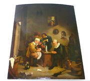Seltenes Picture Painting Oil End Xviii Jh Card Game Flemish Brass Painter