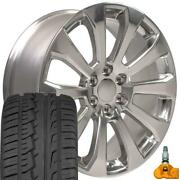 22x9 5922 Polished Rims Tires And Tpms Set Fit Chevrolet And Gmc 1500 High Country