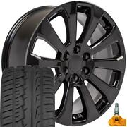 22x9 Black Rims 285/45-22 Tires Tpms Fit Chevrolet And Gmc 1500 High Country