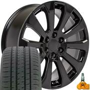 22x9 Black Rim, Bda Tires And Tpms Set Fit Chevrolet And Gmc 1500 High Country