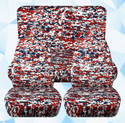Full Set Front+rear Digital Camo Red Car Seat Covers Fits 1989-1998 Geo Tracker