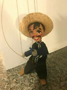Vintage 1990's Handmade 15 Mexican Marionette Bandit String Puppet Nice Cond.