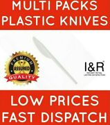 White Plastic Knives Strong Durable Birthday Wedding Bbq Party Takeaways Knife