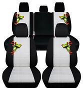 Custom Fit Front+rear Car Seat Covers Blk-white Fits Jeep Renegade 2015-2019