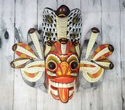Asian Hand Carved Wood Wall Home Decor Elegant Cobra Mask 8 Protection For Home