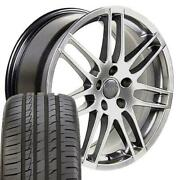 18x8 Hyper Silver Wheels And 245/40zr18 Tires Fit Audi And Vw - Rs4 Rim 66.6 Hub W1x