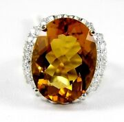 Natural Oval Orange Citrine And Diamond Halo Solitaire Ring 14k White Gold 15.38ct