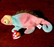 Ty 1997 Beanie Baby Iggy Rare Tie Dye Mint Condition Facial Oddity. Eyes Way Off