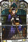 + Fine Older Stained Glass Church Window Of A Bishop + Germany 13 Chalice Co