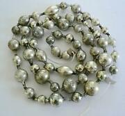 Antique Germany 74andrdquo Vintage Silver Christmas Big Bead Ball Garland