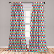 Abstract Motifs Microfiber Curtains 2 Panel Set Living Room Bedroom In 3 Sizes