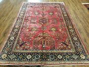 6and039 X 9and039 Antique Hand Made India Floral Rug Highly Detailed Red Hand Knotted Nice