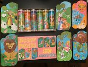 6 Pack Vintage Jigsaw Puzzles Nursery Rhymes With Individual Tins 5/6 Complete