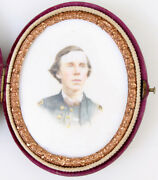 Civil War Soldier. Tinted Ivorytype Oval In Case. Very Rare.