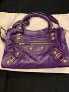 New Balenciaga Giant 21 City Motocross Purple Leather Bag With Gold Hardware