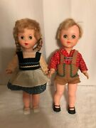 Set Of 2- Vintage 1962 Jolly Toys Dolls W/ Traditional German Clothing