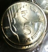 India 5 Rupees, 2019-b New Series / Design 100 Unc Coins Mint Packet.