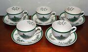 Spode Vintage Christmas Tree Tea Cup Saucer Made In England China Set Of 5