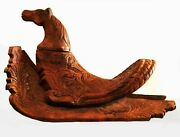 Antique East Asian Saddle. Hand Carved Wood. Juvenile Or For Mongolian Horses.