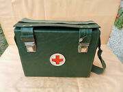 Old Vintage Military First Aid Doctors Apothecary Bag Box Full Equip 60 Years