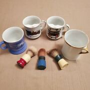 4 Vintage Shaving Mugs And 3 Brushes, Royal Crown, Ever Ready Etc.