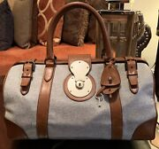 """Womens """"ricky"""" Collection Medium Doctor Bag Wool And Leather Cognac"""