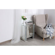 Mirrored Embedded Crystals End Table Cabinet 1 Drawer 1 Door Living Room Bedroom