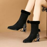 New Womenand039s Pointy Toe Block Heels Warm Fur Lining Boots Faux Suede Shoes Size