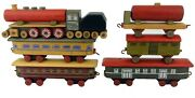 Vintage 1950s Wooden Toy Train And Carriages 6pcs Set Made In Czechoslovakia
