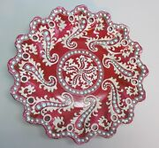 Rare Nippon Plate In Red W/ Moriage And Turquiose Jewels C. 1890 Antique Japanese