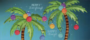Two Decorated Palm Trees Box Of 14 Long Glitter Tropical Christmas Cards