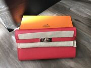 100 Authentic Hermes Kelly Wallet Limeted Rare Color
