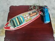 Vintage Zoom F-570 Speed Battery Op Boat Made In Japan By K Tin Toy Lot Old Toy