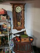 Vintage Wind Up Wall Clock With Key Old Brass Wood Hard Carved Oak Clock 1800s