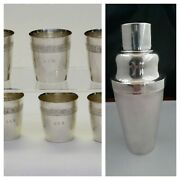 Antique Chinese Export Silver Cocktail Shaker Wh90 With 6 America Sterling Cups