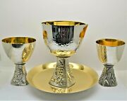+ Older 4 Piece Set W/ Large Communion Cup, Bread Plate And 2 Chalices + Cu867