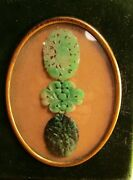 Qing Dynasty Carved Jadeite Pendant Collection Apple Green Sealed Curio Framed
