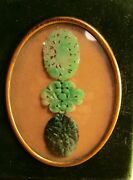 Qing Dynasty Carved Jadeite Pendant Collection, Apple Green, Sealed Curio Framed