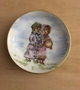 Vintage Kate Greenway Miniature Haviland Porcelain Dish With Children In Snow