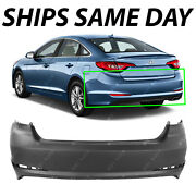New Primered - Rear Bumper Cover Replacement For 2015 2016 2017 Hyundai Sonata