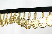 Lily Beaded Trim 1-1/2 Gold Glass Bugle Beads Metal Coin With 3/8 Ribbon By Yd