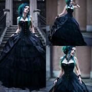 Victorian Gothic Black Wedding Dresses Strapless Punk Style Country Gowns Custom