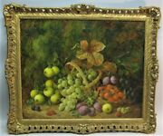 Gorgeous 24 X 20 George Clare English Still Life Oil Painting C. 1870s