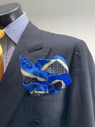 Recent Canali Wool Blue Striped Db Suit 42 L Made In Italy Vented