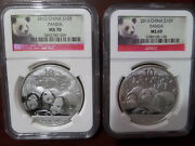 2013 China Silver Panda Coin Bullion S10y 1 Ms701 Ms69 Ngc Two Set Red Lable