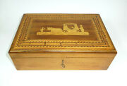 Big Wooden Box Sewing Box With Inlaid Vienna About 1900