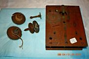 Antique Clock Wooden Movement Gears And Plates For Parts